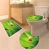 3 Piece Anti-slip mat set Ladybug sitting on a fresh green grass (shallo DoF) Non Slip Bathroom Rugs