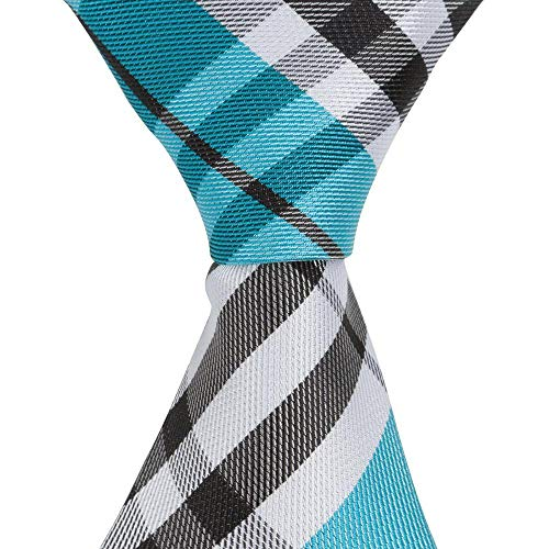 The Matching Tie Guy Men/Boys Microfiber Skinny Aqua/Black/White Plaid Neckties in All Sizes ()