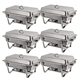 BBBuy 8 Quart Full Size Chafer Stainless Steel Chafing Dishes Complete Chafer Sets w/Water Pan, Food Pan, Lid (Pack of 6)