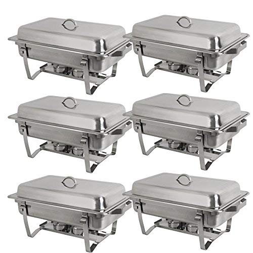 ize Chafer Stainless Steel Chafing Dishes Complete Chafer Sets w/Water Pan, Food Pan, Lid (Pack of 6) ()