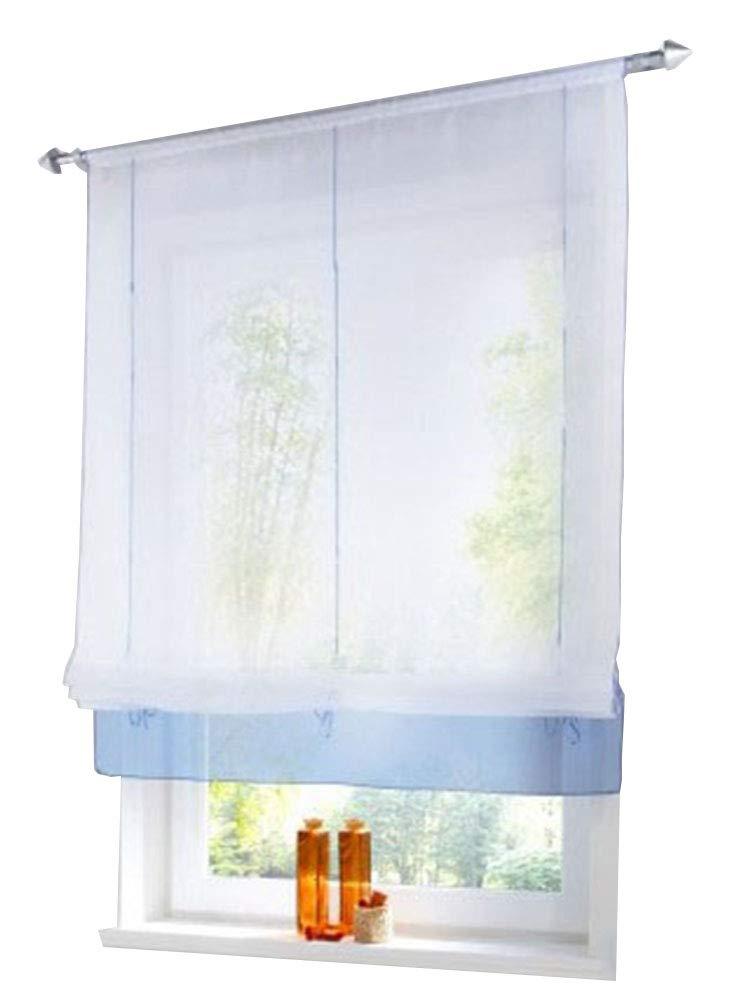 ZebraSmile Solid Vivid Color Transparent Curtain Semi Sheer Kitchen Voile Curtain Rod PocketWindow Curtain Roman Curtain Lifable Curtain, 47 x 61 Inch, Blue