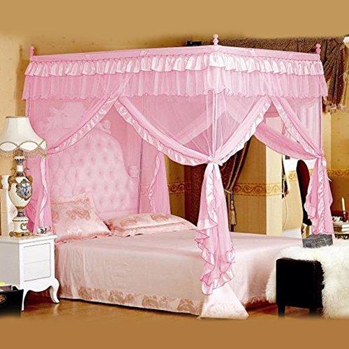 Cama de Cuatro Rincones Canopy Cortina Mosquito Net ,Dormitorio Cuarto De Infancia Princesa Estilo, Netting Ropa De Cama Cute...