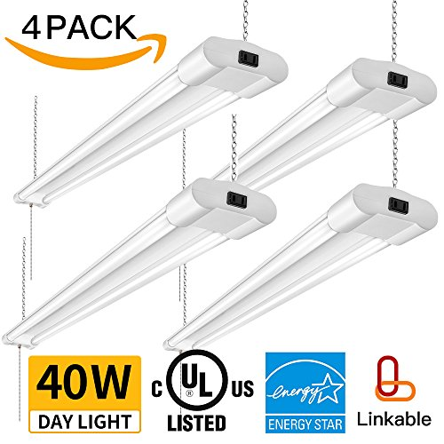 Amico 40W 4000LM 4FT Linkable LED Utility Shop Lights for Garage,Double Integrated LED Fixture UL and Energy Star,5000K Daylight, 100W Fluorescent Eq. Hanging Light with Pull Chain Switch. 4 Pack