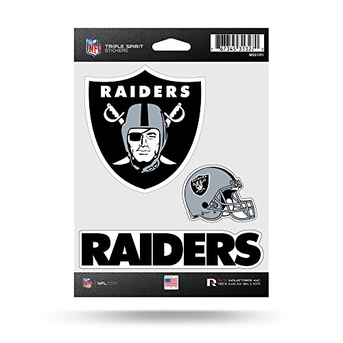 NFL Oakland Raiders  Triple Spirit Stickers, Black, White, 3 Team Stickers