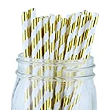 Just Artifacts - Decorative Paper Straws 100pcs - Striped Pattern - Metallic Gold - Decorative Paper Straws for Birthday Parties, Weddings, Baby Showers, and Life Celebrations! …