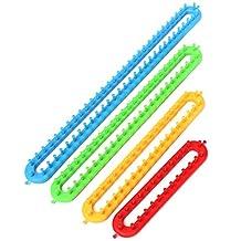 SODIAL(R) Set of 4 Long Plastic Knitting Knitter Looms Ring Craft Kit for Sock Scarf Hat