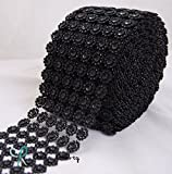 "Diamond Flower Shape Mesh Wrap Roll Faux Rhinestone Crystal Ribbon 4"" x 10 yards (30 ft) … (Black)"