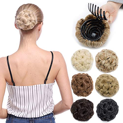 Scrunchy Updo Wavy Straight Hair Bun Drawstring Clip Claw Messy Donut Chignons Synthetic Hairpiece Hair Extension (bleach blonde-claw) from Benehair