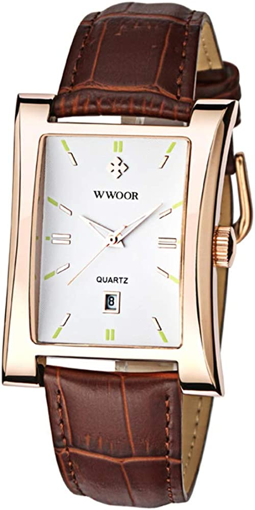 Retro Rectangular Leather Quartz Watch – Fashion Wave Texture Dial Calendar Mens Wrist Watches