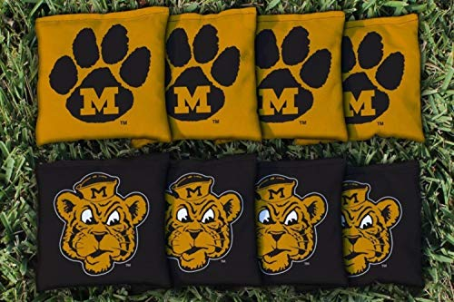 Victory Tailgate NCAA College Vault Regulation Corn Filled Cornhole Game Bag Set - 8 Bags Included - Missouri Tigers
