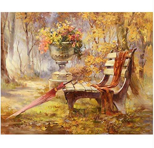 my fell Frameless Autumn Gardan Landscape DIY Pintura Digital por Kits de números Pintados a Mano Modern Wall Art Canvas Painting para Ilustraciones-con Borde