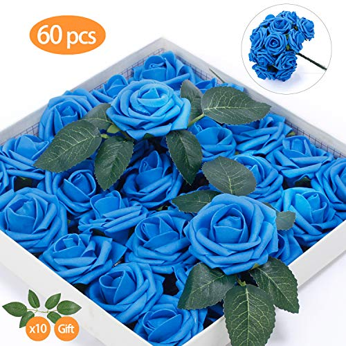 TOPHOUSE 60pcs Artificial Flowers Roses Real Touch Fake Roses for DIY Wedding Bouquets Bridal Shower Party Home Decorations (Royal Blue)