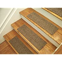 Essential Carpet Stair Treads - Style: Herringbone - Color: Best Beige Brown - Size: 24 x 8 - Set of 4