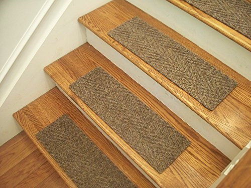 Essential Carpet Stair Treads - Style: Herringbone - Color: Best Beige Gray - Size: 24'' x 8'' - Set of 13 by Essential Specialty Products