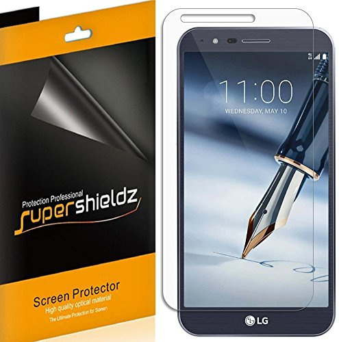 [6-Pack] Supershieldz for LG Stylo 3 Plus Screen Protector, Anti-Bubble High Definition Clear Shield + Lifetime Replacements Warranty- Retail Packaging