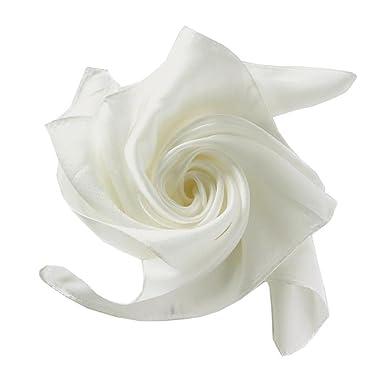 Fête des Mères Foulard Carré Blanc Claire 52 52cm en Soie Uni ... 79e8227cd32