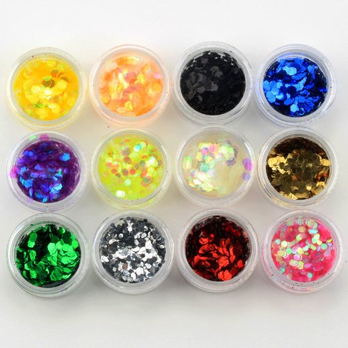 BlastCase 12 Color Glitter Hexagon Acrylic UV Gel False Tips Nail Art Salon Tool Set