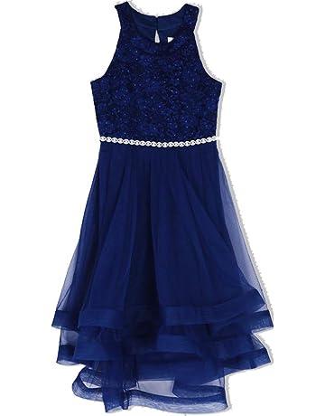 309926dad8a0 Speechless Girls' 7-16 Tween Sparkle Waist Party Dress with Wide Ribbon Hem