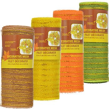 Set of 4 Autumn Fall Decorative Harvest Mesh, 5-Yd. Rolls Thanksgiving Harvest Pumpkin Leaves Gel Window Cling Decorations Mesh Rolls (Captain John Smith Halloween Costumes)