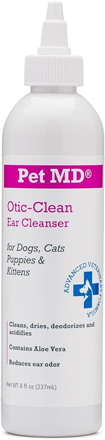 Pet MD Otic Clean Dog Ear Cleaner for Cats and Dogs - Effective Against Infections Caused by Mites, Yeast, Itching and Controls Odor - 8 oz : Pet Supplies