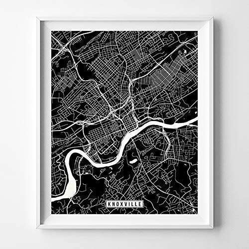 (Knoxville Tennessee City Street Map Wall Art Home Decor Poster Urban City Hometown Road Print - 70 Color Choices - Unframed)