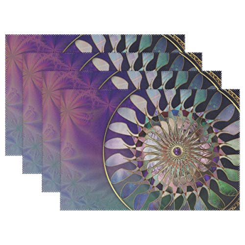 RH Studio Plate Pad Fractal Mascot Light Heat-Resistant Table Placemats Set of 4 Stain Resistant Table Mats Washable Eat Mat Home Dinner - Desk Pad Mascot