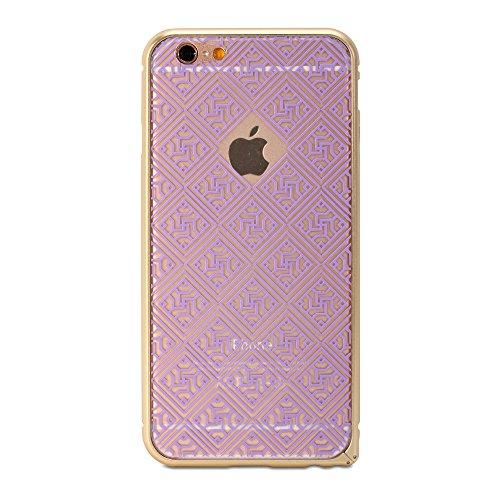 iPhone 6 (4.7 Display) Hülle, GMYLE Bumper Case Buckle für iPhone 6 (4.7 Display) - Metallic Champagne Gold & Plum Purple Oriental Motif Schlank Schlank Passend Schnappen darauf hart Zurückfall