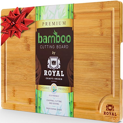Kitchen Cart Round Butcher Block (EXTRA LARGE Organic Bamboo Cutting Board with Juice Groove - Best Kitchen Chopping Board for Meat (Butcher Block) Cheese and Vegetables | Anti Microbial Heavy Duty Serving Tray w/ Handles - 18 x 12)
