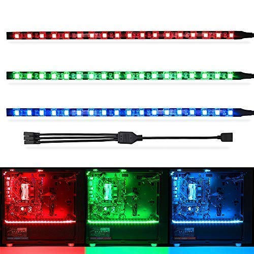 WOWLED RGB Gaming LED Strip Lights Mid Tower PC Case Lighting for Aura Sync and M/B with 4pin RGB Header 5050 SMD 11.8inch per Strips with Magnet Pack of 3 Strips
