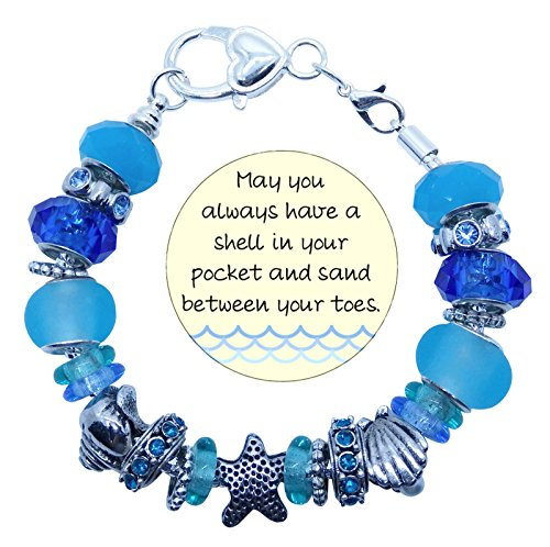 Seaside Memories Bracelet Starfish and Seashell Charms Ocean Blues Glass Beads 8 inch Chain in Gift Box ()
