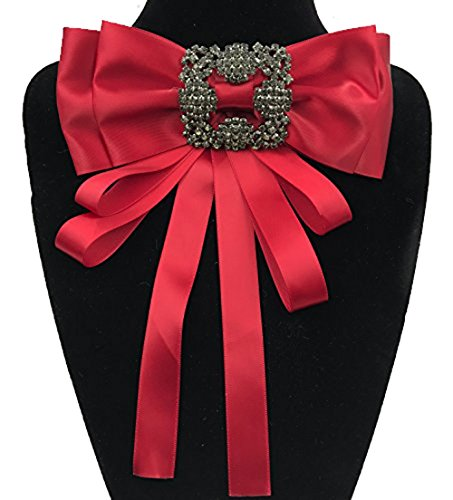 Tinsley Multi-layered butterfly ribbon with diamond brooch small bow tie (Red) (Diamond Butterfly Brooch Pin)