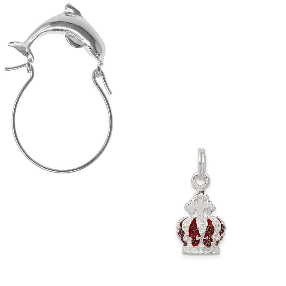 Mireval Sterling Silver Red Enameled Crown Charm on an Optional Charm Holder