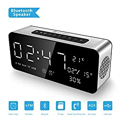 Buy 1 Get 1(Powerbank)2018 Newest ICE-BINGO Bluetooth Speaker with Clock, FM,Date, Temeprature for all your iPhone, Android, Echo