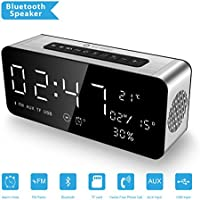 ICE-BINGO Bluetooth Speaker with Clock, FM raido,Date, Temeprature for iPhone, Android, Echo,A10 Portable Speaker