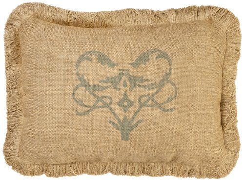 Zentique Single Burlap Pillow with Jute Brush Fringe, 14-Inch by 22-Inch, Blue/Damask