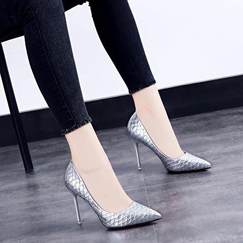 GAOLIM Punta De La Caída De Los Zapatos De Tacón Alto Solo Zapatos Verano Fino Beige Con Zapatos De Mujer Zapatos De Boda Con Plata Dama Dama Zapatos Zapatos Plata 10cm