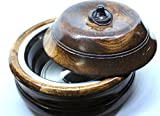 Handcrafted Wooden 8'' Chapati Box Casserole Food Container with Stainless Steel Pot with Lid