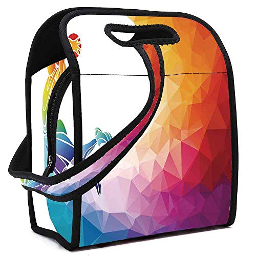 Apartment Decor Lightweight Neoprene Lunch Bag,Rainbow Colored Theme with a Basketball Player Sports Man Jumps Print for Kids Nurse Teacher Outdoor,Square(8.5''L x 5.5''W x 11''H)