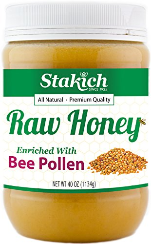 UPC 099977023396, Stakich BEE POLLEN Enriched RAW HONEY - 100% Pure, Unprocessed, Unheated - 40 oz