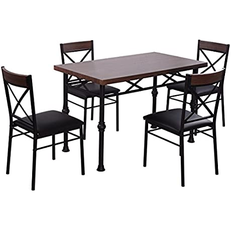Giantex 5 Piece Dining Set Table And 4 Chairs Wood Metal Kitchen Breakfast Dining Furniture