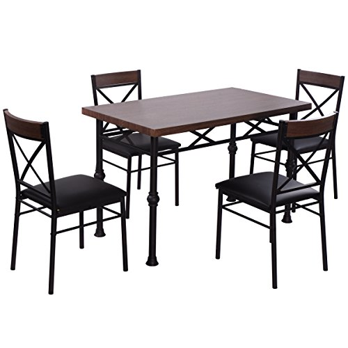Giantex 5 Piece Dining Set Table And 4 Chairs Wood Metal Kitchen Breakfast Furniture