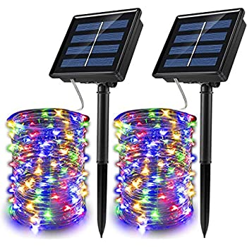 JosMega Upgraded Larger Solar Powered String Lights 2 Pack 33 ft 100 LED 8 Modes Waterproof IP65 Twinkle Lighting Indoor Outdoor Fairy Firefly Lights Auto ON / OFF (2 Pack 33 ft 100 LED, Multicolor)