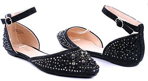 Obj50 Women Rhinestone Glitter Sparkle Pointed Toe Dress Ankle Strap Flat Sandal Blk JW1N37MV