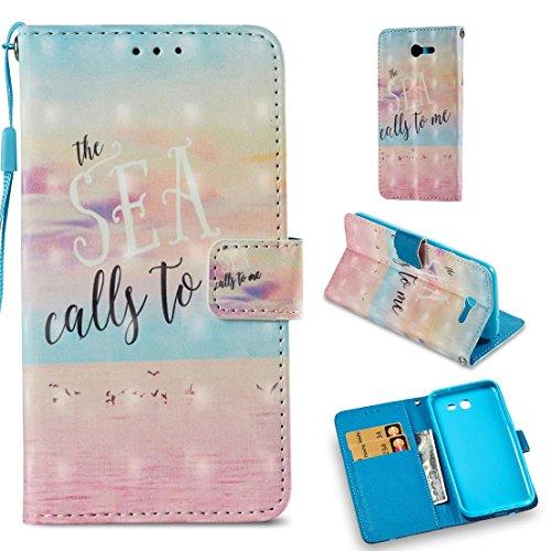(Firefish Galaxy J3 2017 Case,Pu Magnetic Flip Folio Wallet Case [Durable] Lightweight Kickstand Folding Case with Credit Card Holder Xmas Birthday Gift Compatible Samsung Galaxy J3 2017 -Ocean Pink)