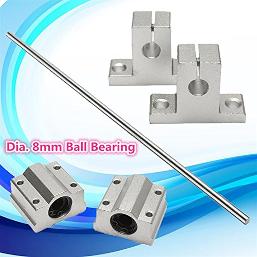 Silver Stainless Steel 8x400MM Lead Rod Optical Axis + 2pcs Aluminum Rail Shaft Support + 2pcs Linear Slide Block