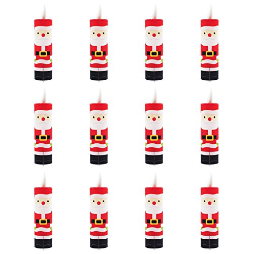 LED Christmas Santa Claus Light Taper Candle Lights Warmer Pillar Battery Operated Multi Colored - Home,Garden,Wedding,Party and Holiday Decor 12pcs