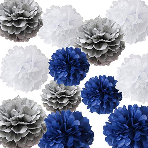 HappyField Nautical Themed Vintage Wedding Bridal Shower Birthday Baby Shower Nursery Decoration School Ceremony Graduation Theme Party Supplies 12PCS 10inch 12inch Navy White Gray Tissue Pom Poms]()