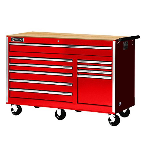 """Williams 50765W 10 Drawer Super Value Roll Cabinet with Wood Top, 56"""", Red"""