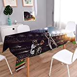 PINAFORE HOME Natural Tablecloth Professional Baseball Players on The Grand Arena Multi Colors & Sizes/W54 x L72 Inch