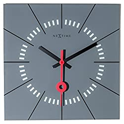 Unek Goods Nextime Stazione Wall Clock, Glass, Grey Face with Black & Red Hands, Battery Operated, Square